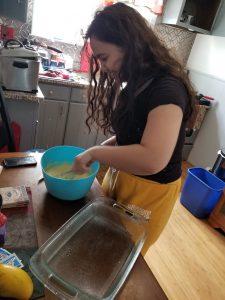 The Ortiz family make Tres Leches cake