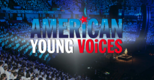 American Young Voices text on background of audience in a theater.
