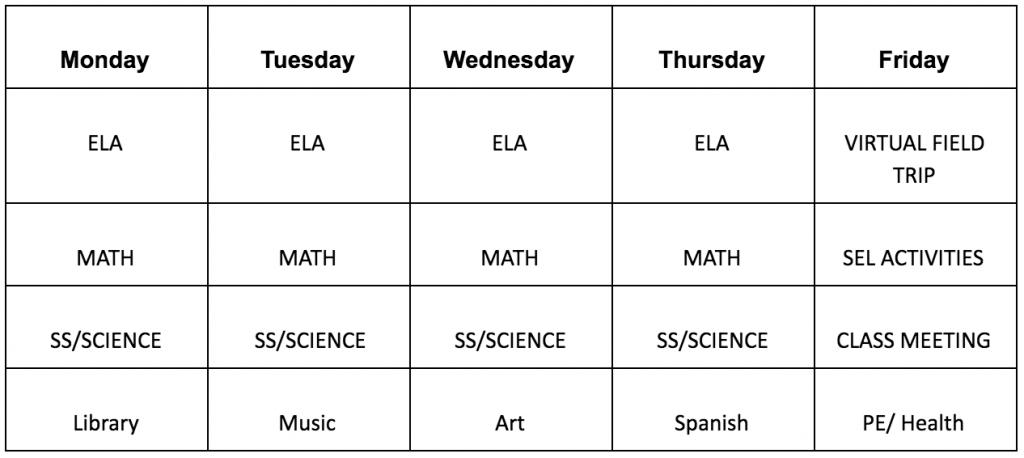 Menands Elementary Sample Schedule