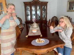 Mrs. Malkiewicz eats pierogies